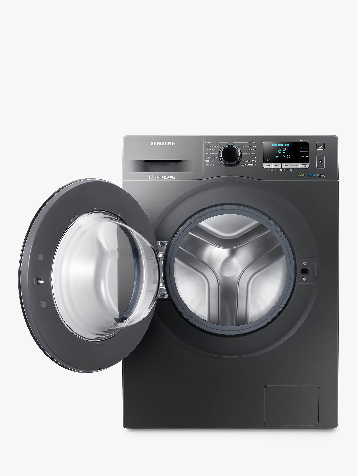 BuySamsung WW80J5456FX/EU ecobubble™  Freestanding Washing Machine, 8kg Load, A+++ Energy Rating, 1400rpm Spin, Graphite Online at johnlewis.com