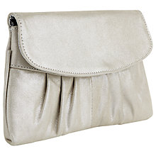 Buy Jacques Vert Metallic Leather Clutch Bag, Mid Grey Online at johnlewis.com