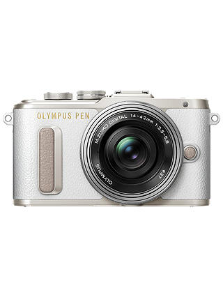 "Buy Olympus PEN E-PL8 Compact System Camera with 14-42mm EZ Lens, HD 1080p, 16.1MP, Wi-Fi, 3"" LCD Touch Screen, White Online at johnlewis.com"