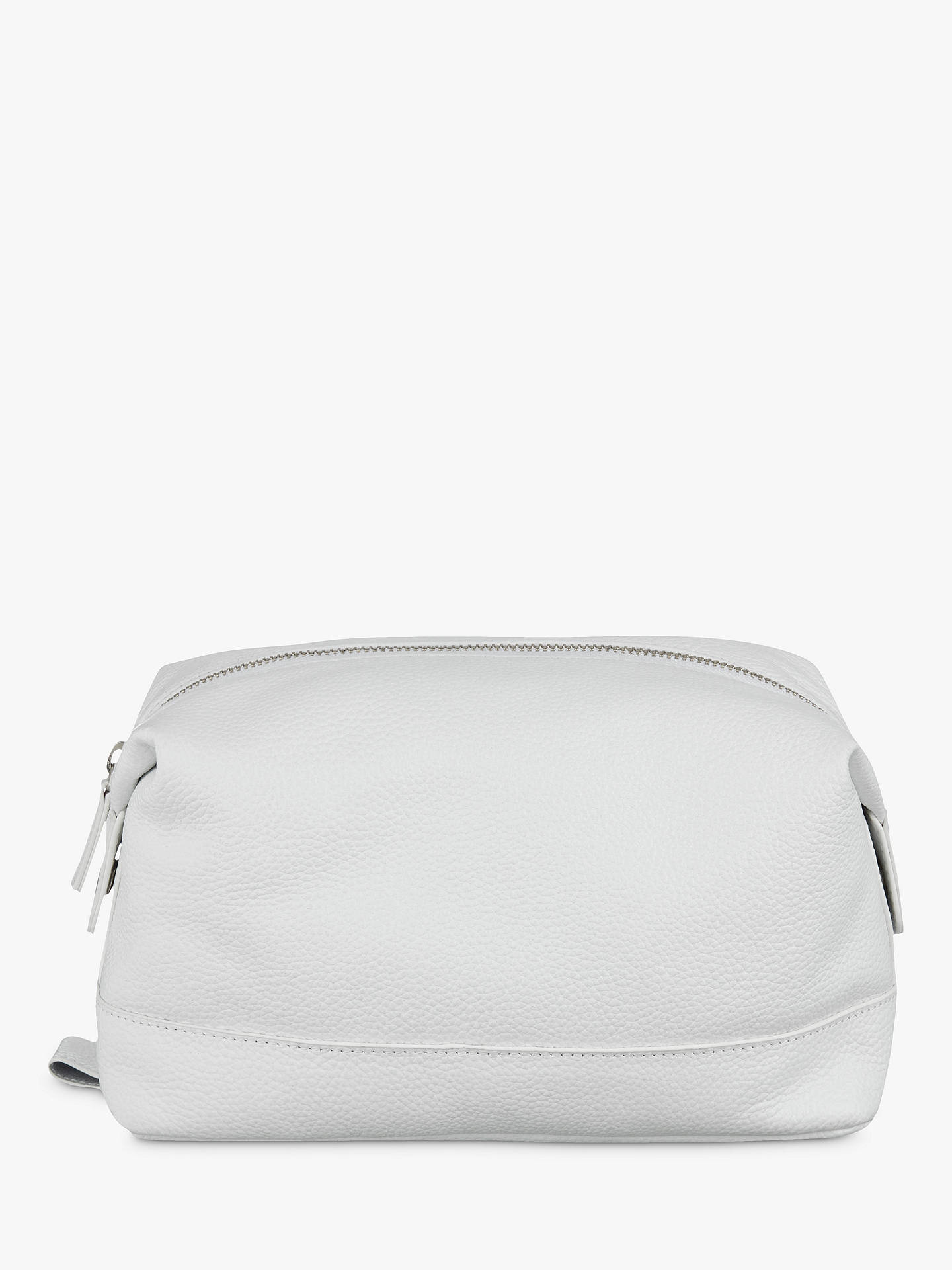 df0a86315543 Buy Croft Collection Leather Wash Bag, White Online at johnlewis.com ...