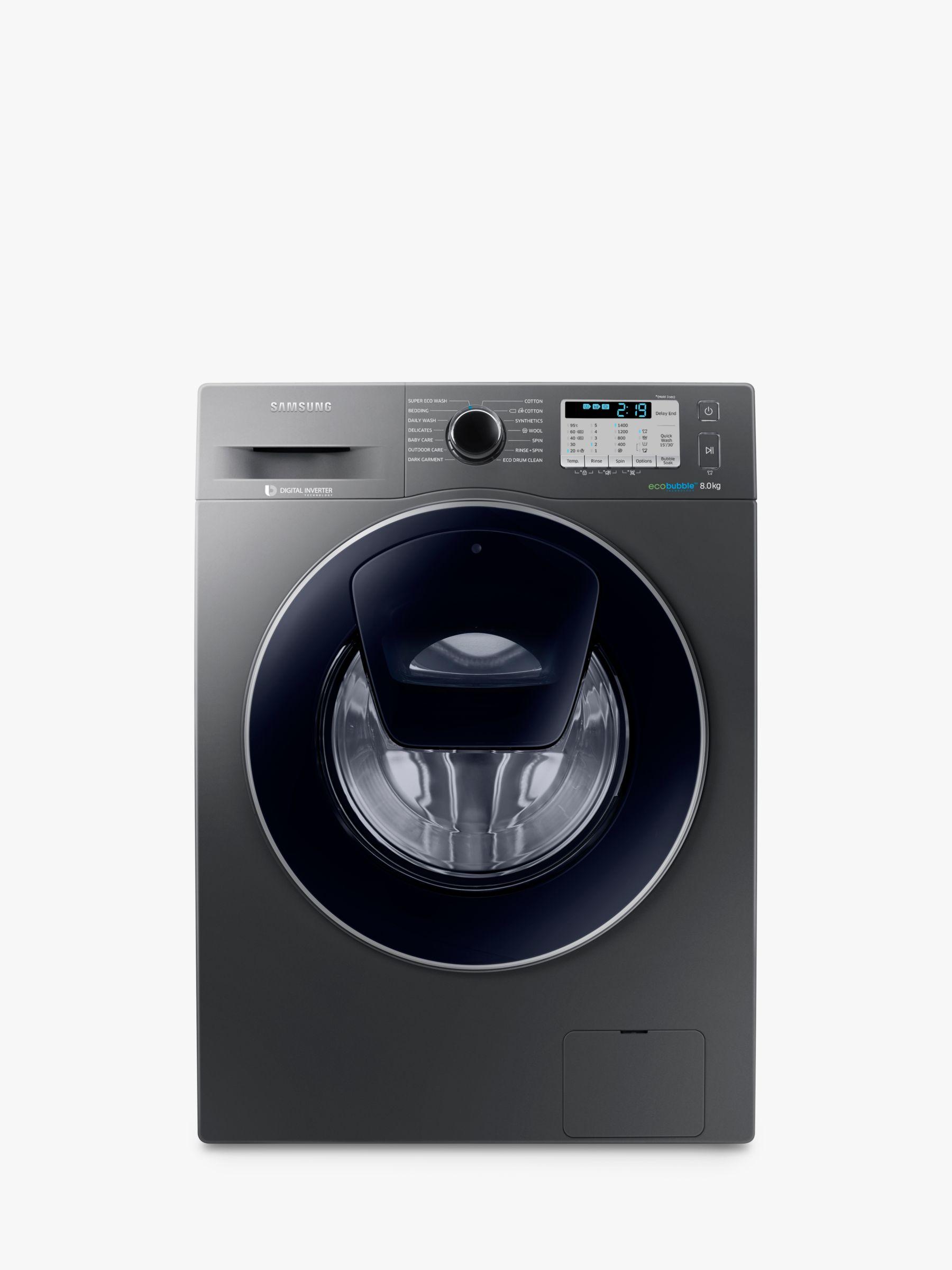 Samsung Samsung AddWash WW80K5413UX/EU Washing Machine, 8kg Load, A+++ Energy Rating, 1400rpm Spin, Inox