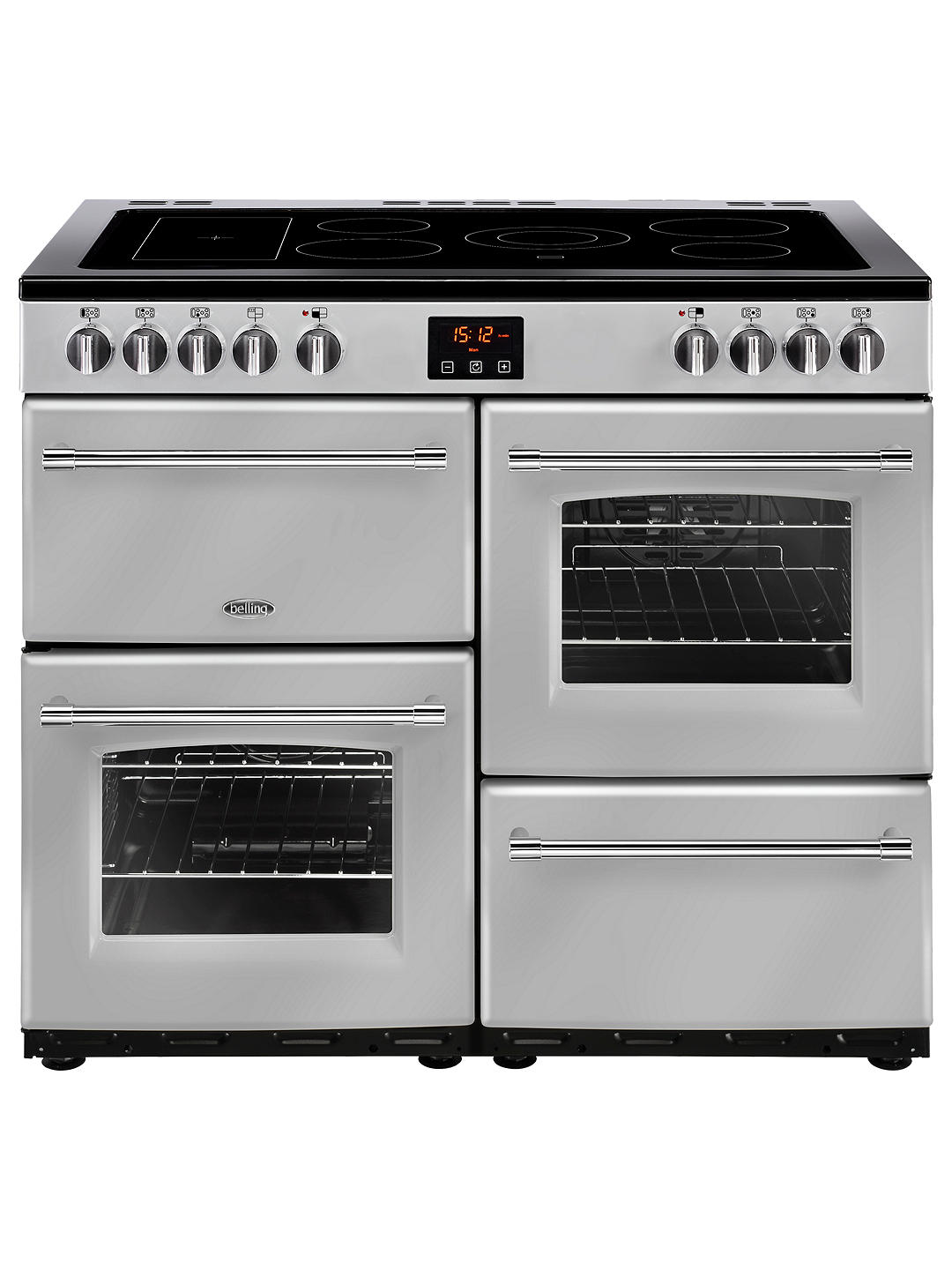 Buy Belling Farmhouse 100E Electric Range Cooker with Ceramic Hob, Silver Online at johnlewis.com