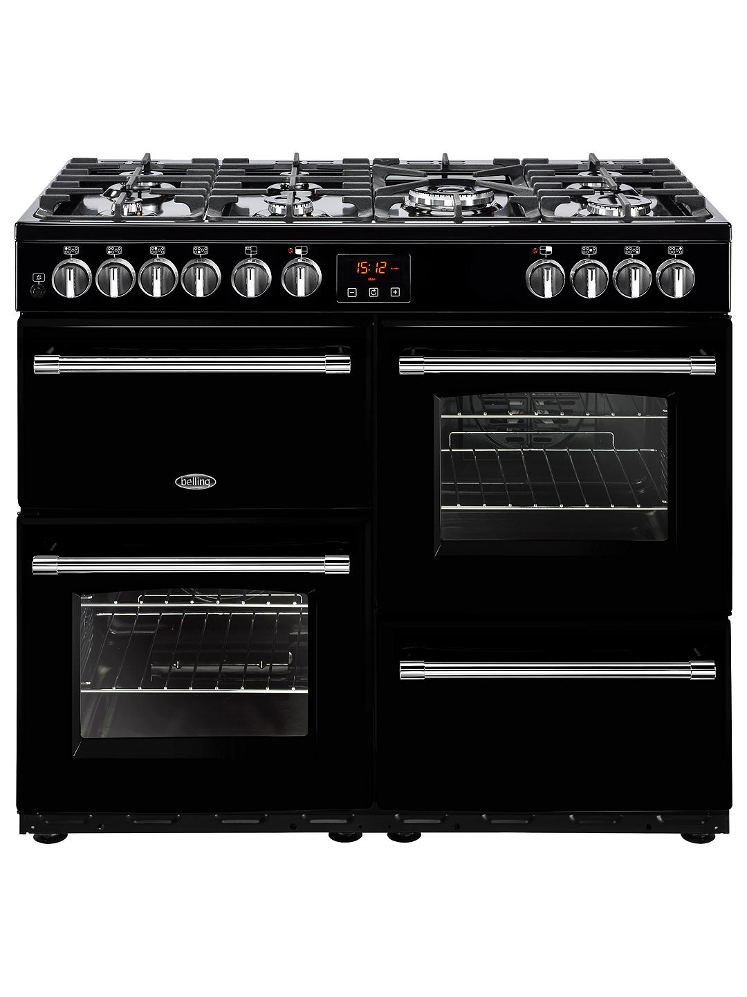 Buy Belling Farmhouse 100DFT Dual Fuel Range Cooker, Black Online at johnlewis.com