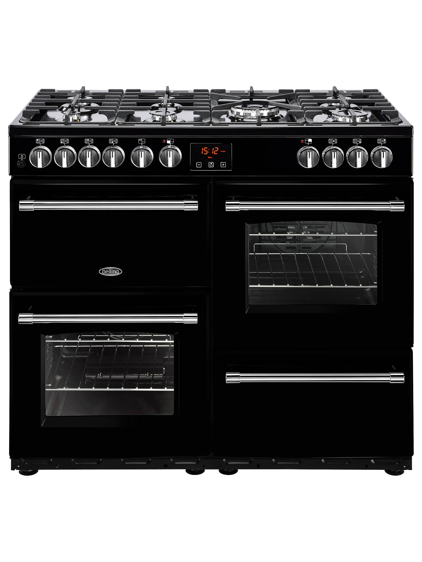 BuyBelling Farmhouse 100DFT Dual Fuel Range Cooker, Black Online at johnlewis.com