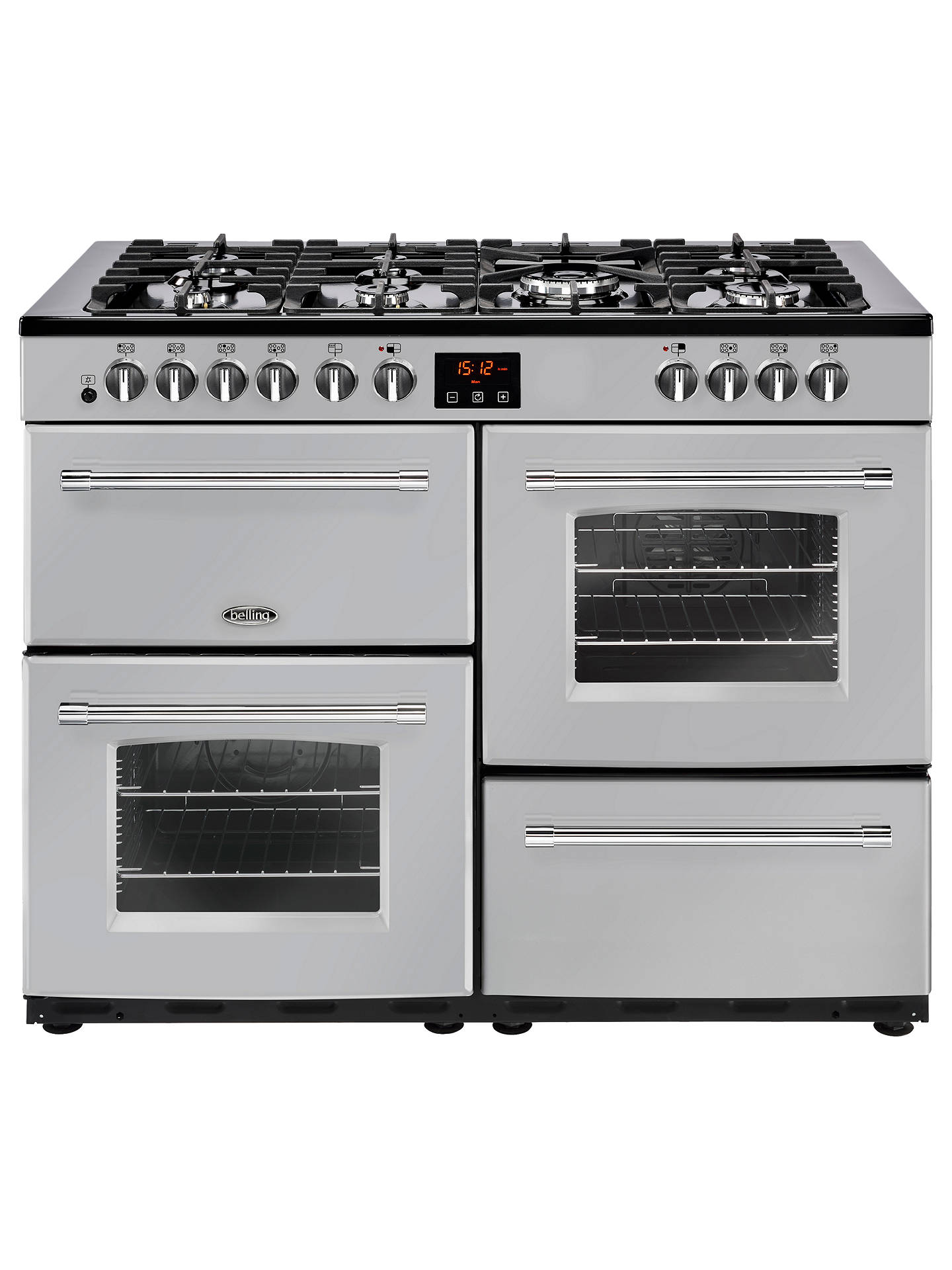 BuyBelling Farmhouse 110DF Dual Fuel Range Cooker, Silver Online at johnlewis.com