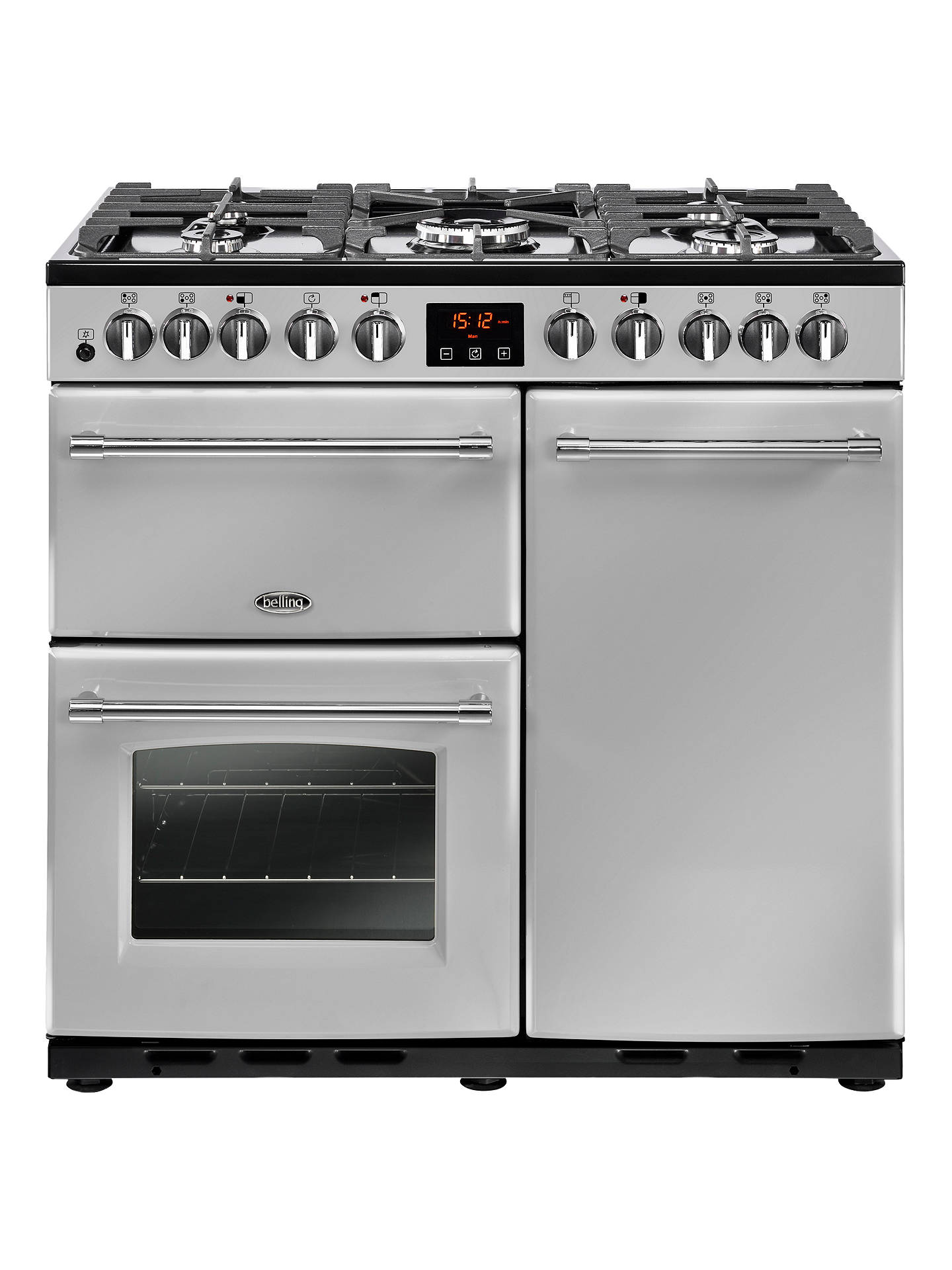 Buy Belling Farmhouse 90DFT Deluxe Dual Fuel Range Cooker, Silver Online at johnlewis.com