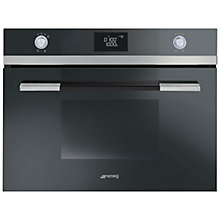 Buy SMEG SF4120MCN Linea Aesthetic Combination Microwave Oven, Black Online at johnlewis.com