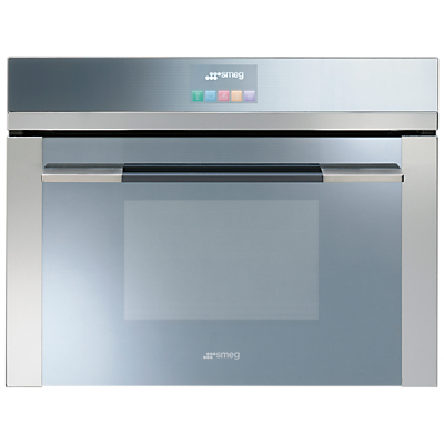 Image of Smeg SF4140MC Linea Aesthetic Combination Microwave Oven with Touch Controls, Stainless Steel
