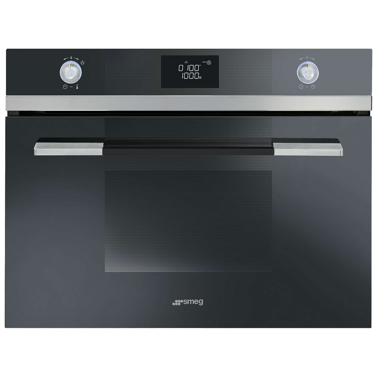 BuySmeg SF4120MN Linea Aesthetic Microwave Oven with Grill, Black Online at johnlewis.com