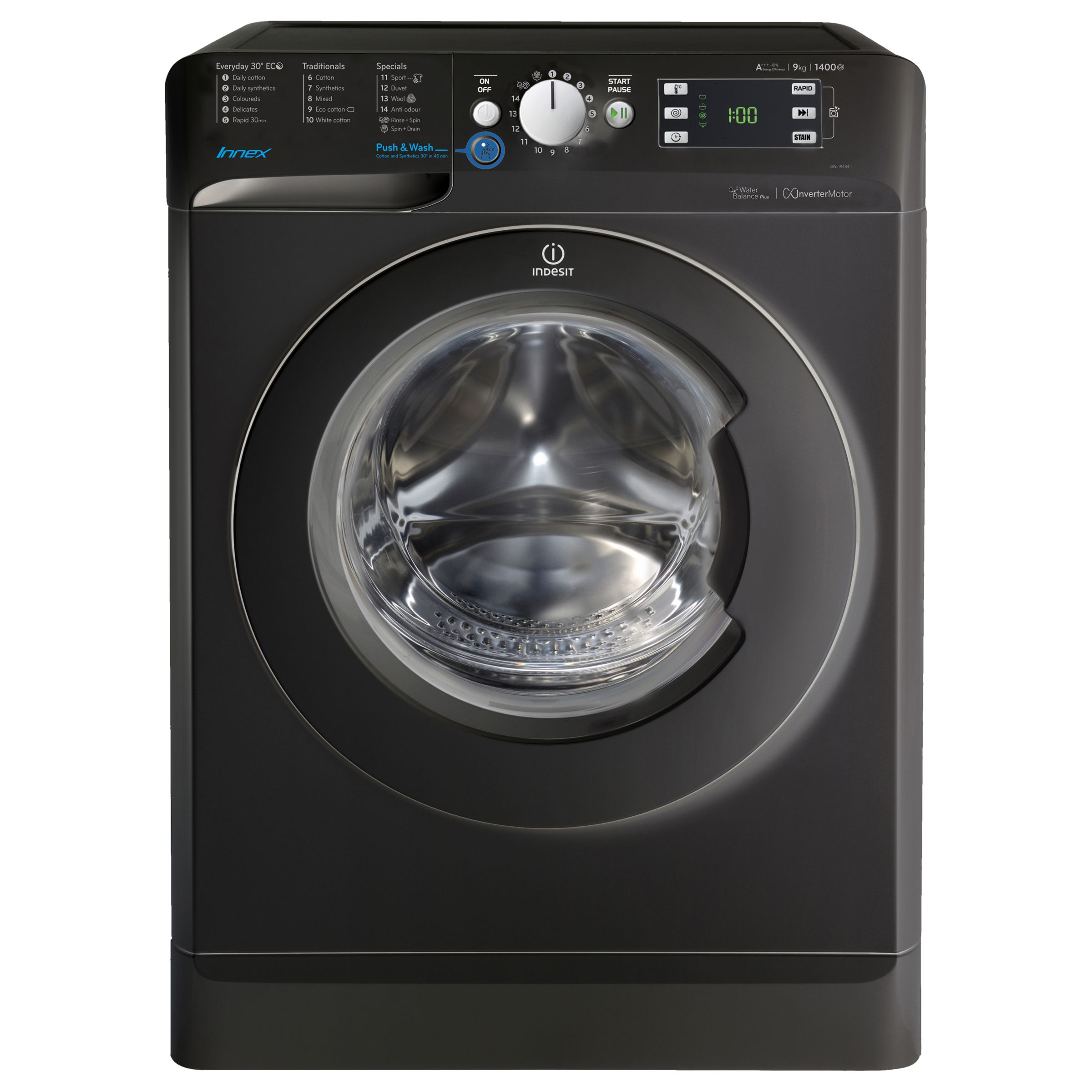 Indesit Indesit Innex BWE91484 Freestanding Washing Machine 9kg Load, A+++ Energy Rating, 1400rpm Spin