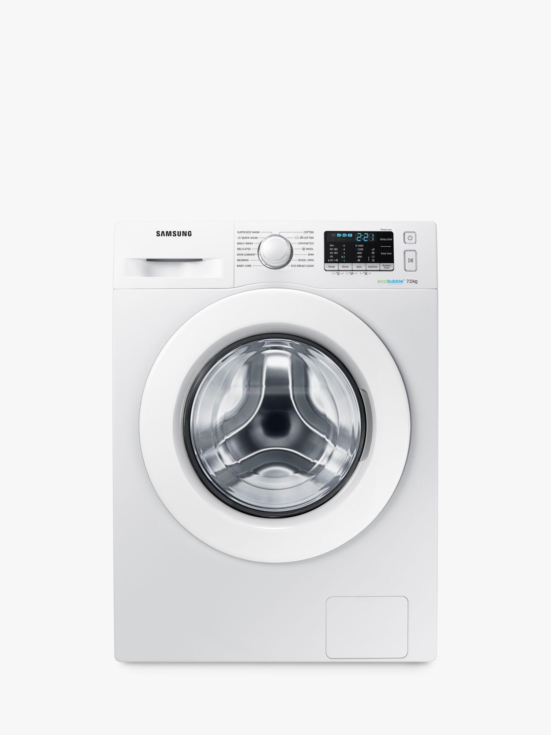 Samsung Samsung WW70J5555MW/EU ecobubble™ Freestanding Washing Machine, 7kg Load, A+++ Energy Rating, 1400rpm Spin, White