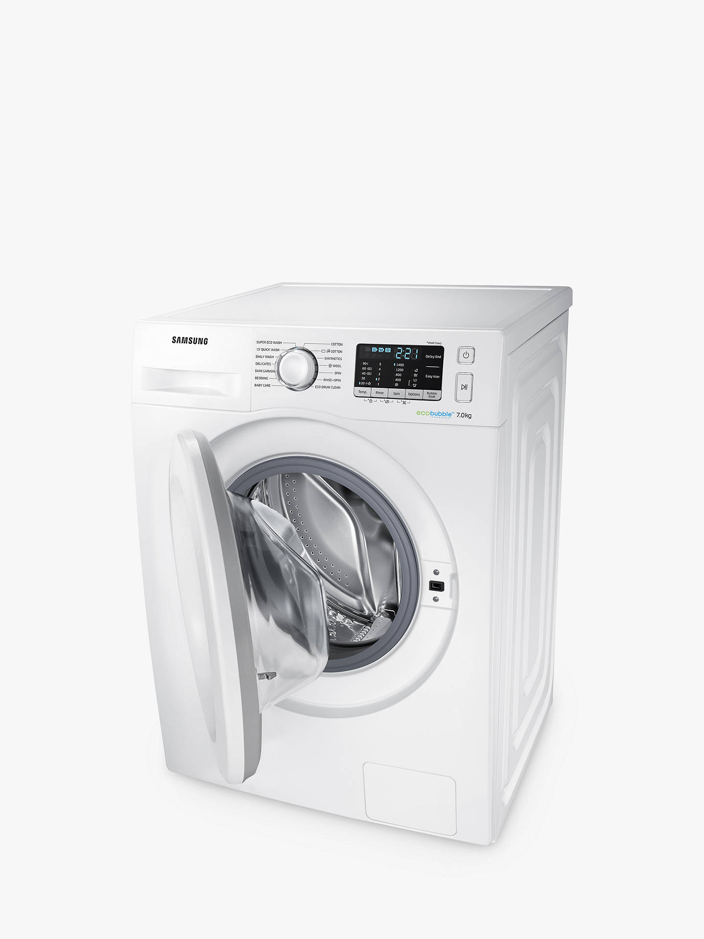 BuySamsung WW70J5555MW/EU ecobubble™ Freestanding Washing Machine, 7kg Load, A+++ Energy Rating, 1400rpm Spin, White Online at johnlewis.com