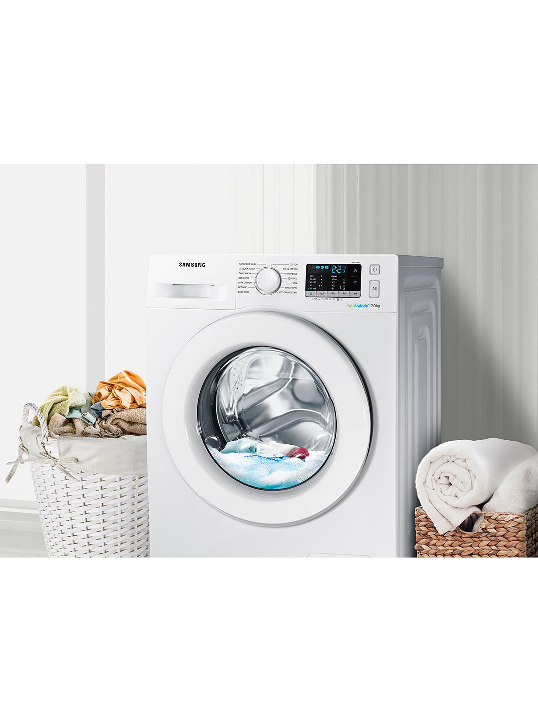 Buy Samsung WW70J5555MW/EU ecobubble™ Freestanding Washing Machine, 7kg Load, A+++ Energy Rating, 1400rpm Spin, White Online at johnlewis.com
