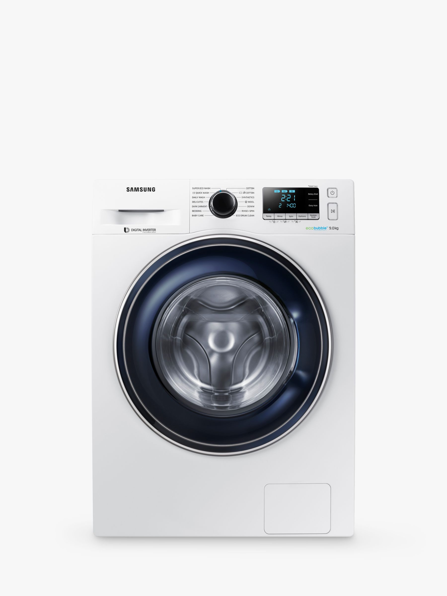 Samsung Samsung WW90J5456FW ecobubble Freestanding Washing Machine, 9kg Load, A+++ Energy Rating, 1400rpm Spin, White/Grey