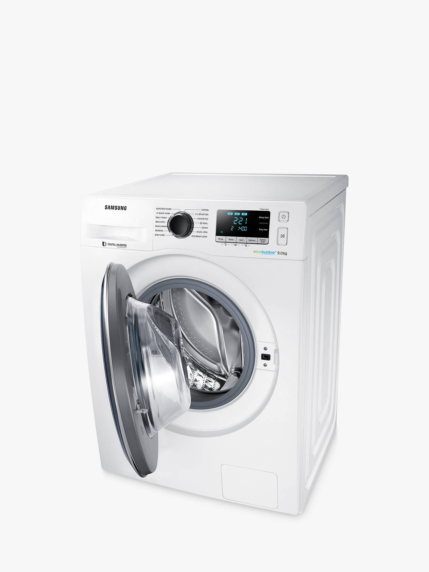 Samsung WW90J5456FW ecobubble™ Freestanding Washing Machine, 9kg Load, A+++  Energy Rating, 1400rpm Spin, White/Grey, White/Grey