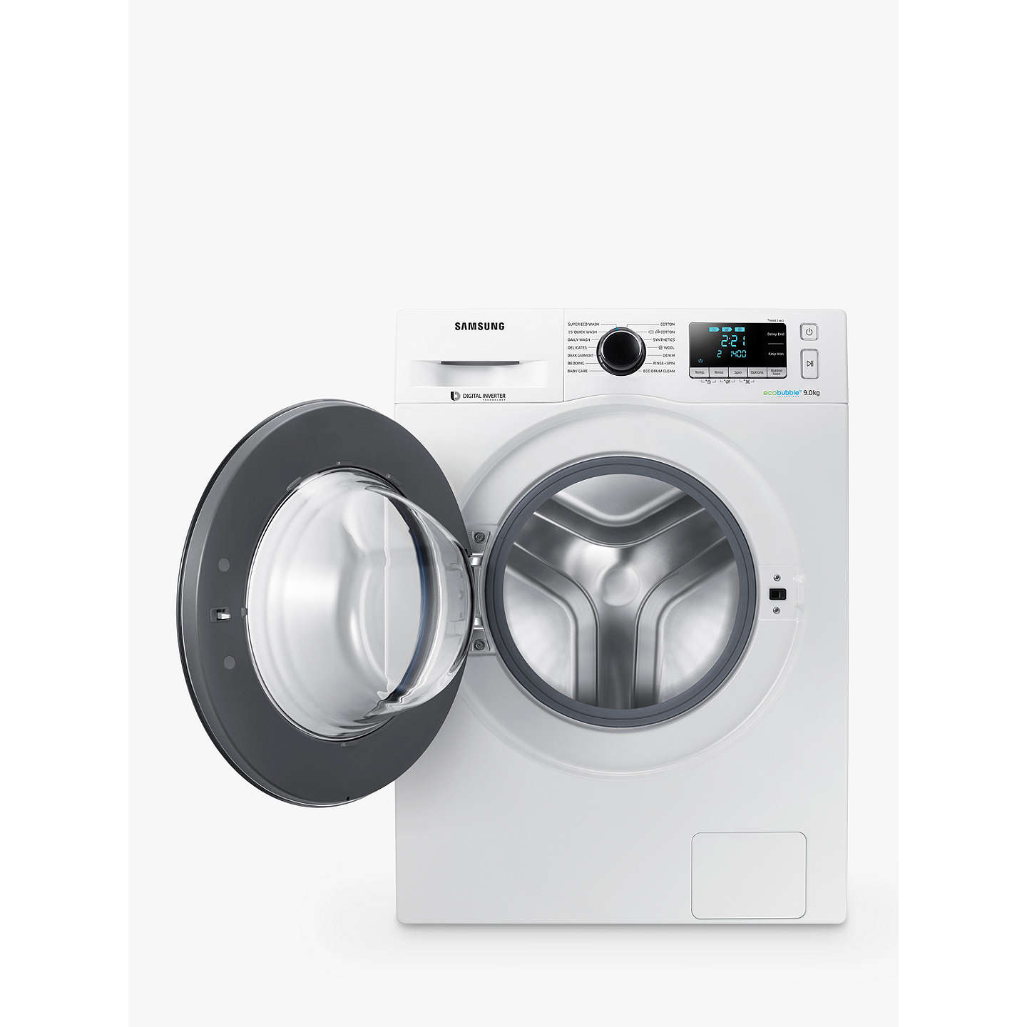 BuySamsung WW90J5456FW ecobubble™  Freestanding Washing Machine, 9kg Load, A+++ Energy Rating, 1400rpm Spin, White/Grey Online at johnlewis.com
