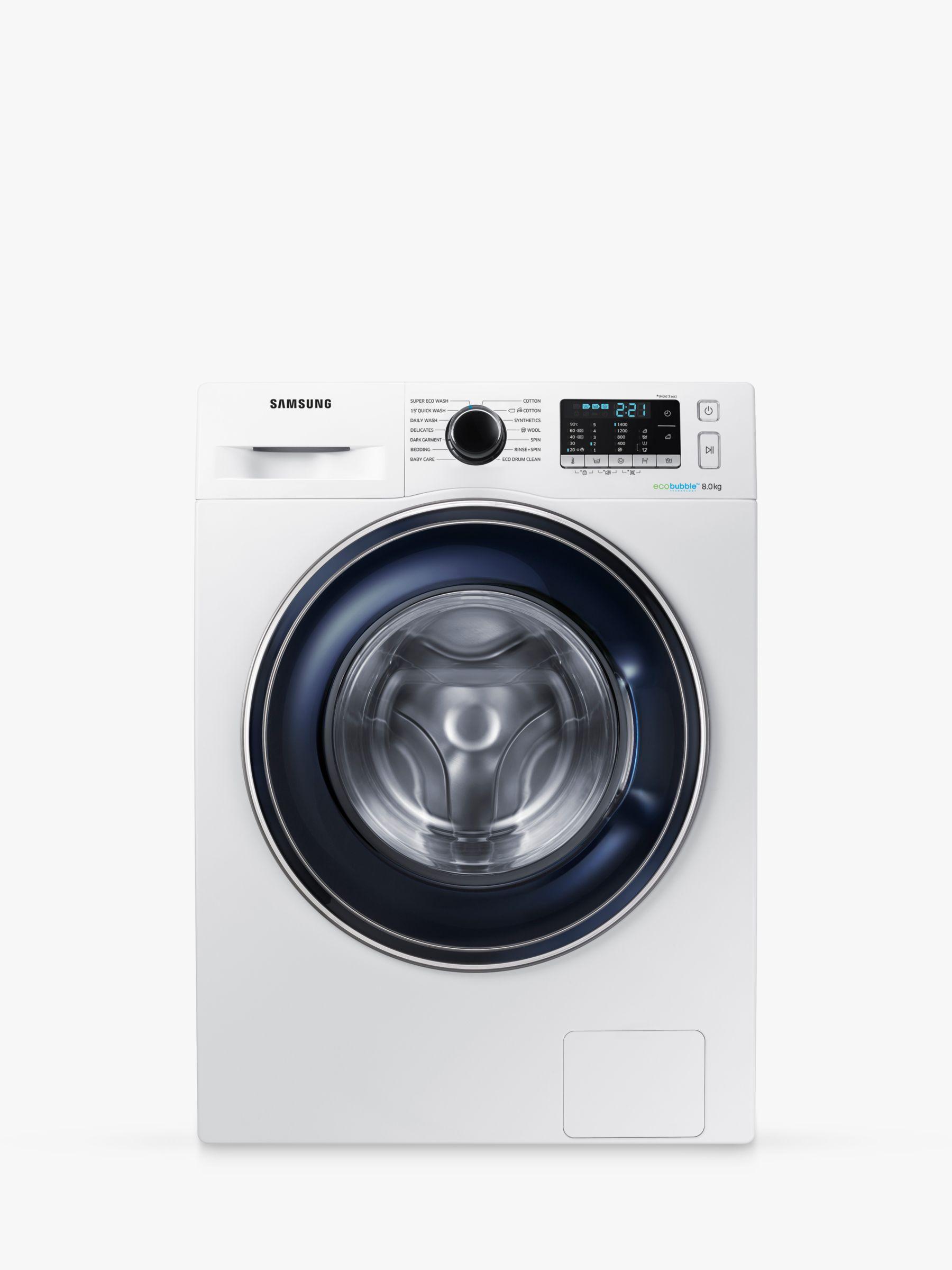 Samsung Samsung WW80J5555FW/EU ecobubble Freestanding Washing Machine, 8kg Load, A+++ Energy Rating, 1400rpm Spin, White