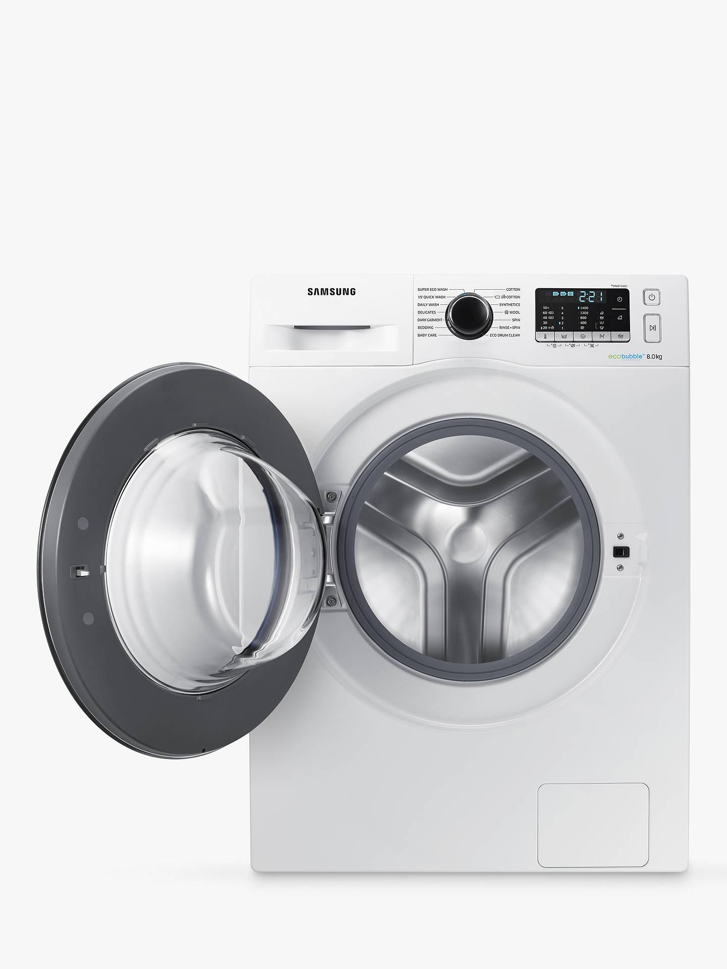 Samsung WW80J5555FW/EU ecobubble Freestanding Washing Machine, 8kg Load,  A+++ Energy Rating, 1400rpm Spin, White