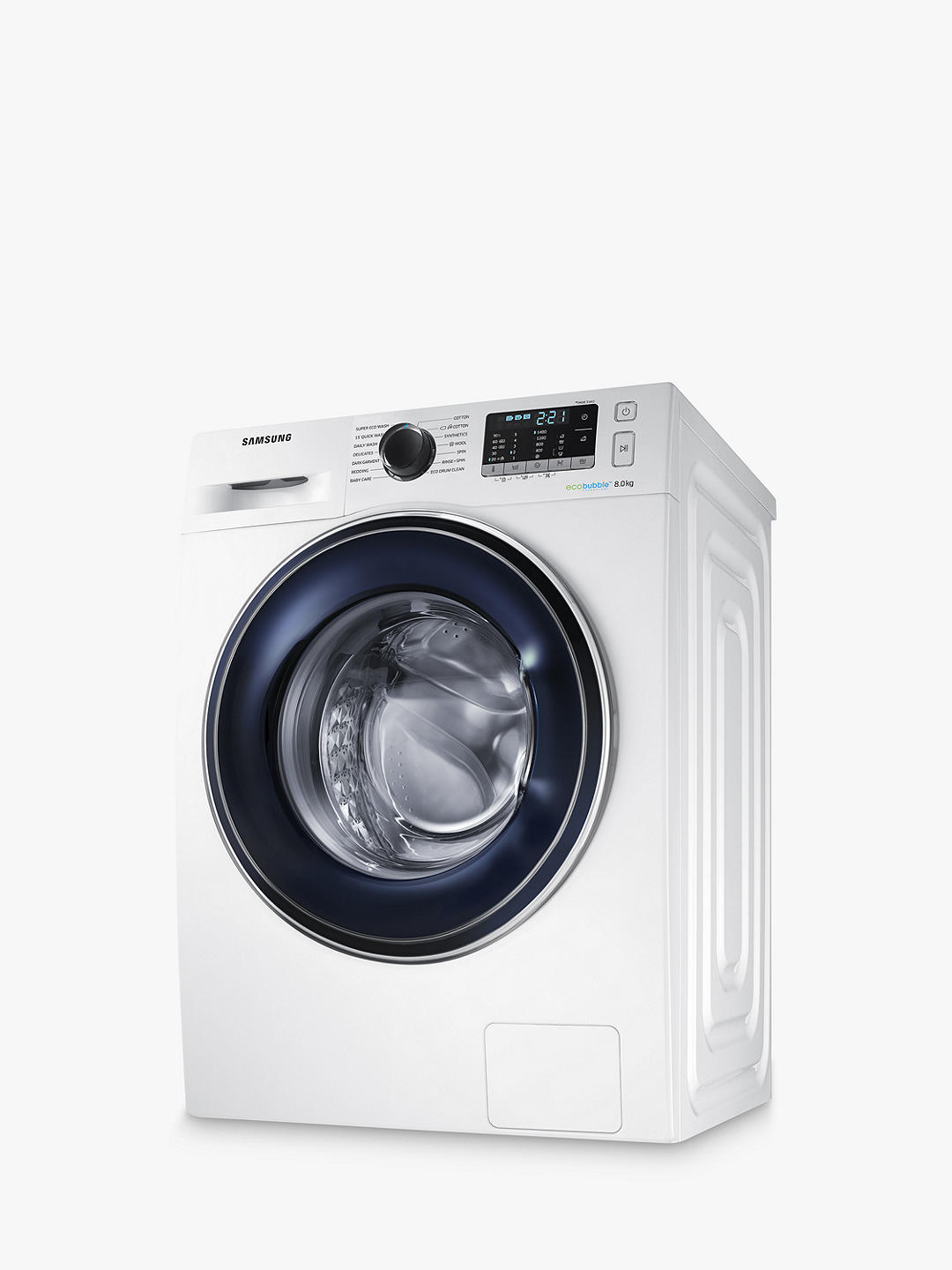 Buy Samsung WW80J5555FW ecobubble™ Freestanding Washing Machine, 8kg Load, A+++ Energy Rating, 1400rpm Spin, White Online at johnlewis.com