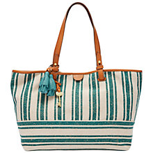 Buy Fossil Rachel Cotton Tote Bag, Teal Stripe Online at johnlewis.com