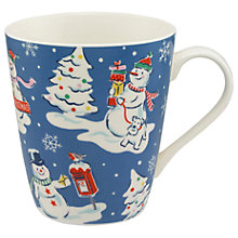 Buy Cath Kidston Snowmen Mug, Blue, 475ml Online at johnlewis.com