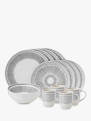 ED Ellen DeGeneres for Royal Doulton Charcoal Grey Lines Porcelain Set, 16 Piece