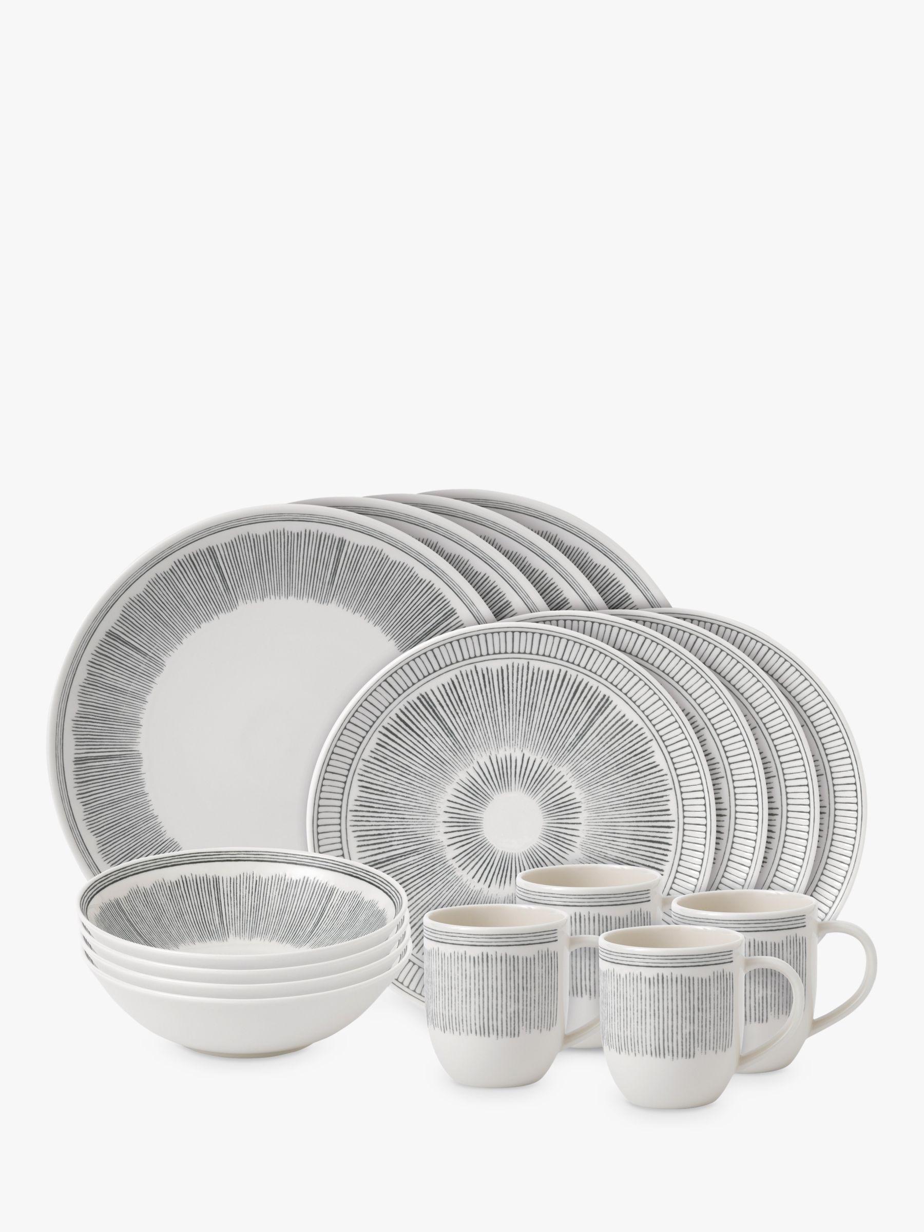 Royal Doulton ED Ellen DeGeneres for Royal Doulton Charcoal Grey Lines Porcelain Set, 16 Piece