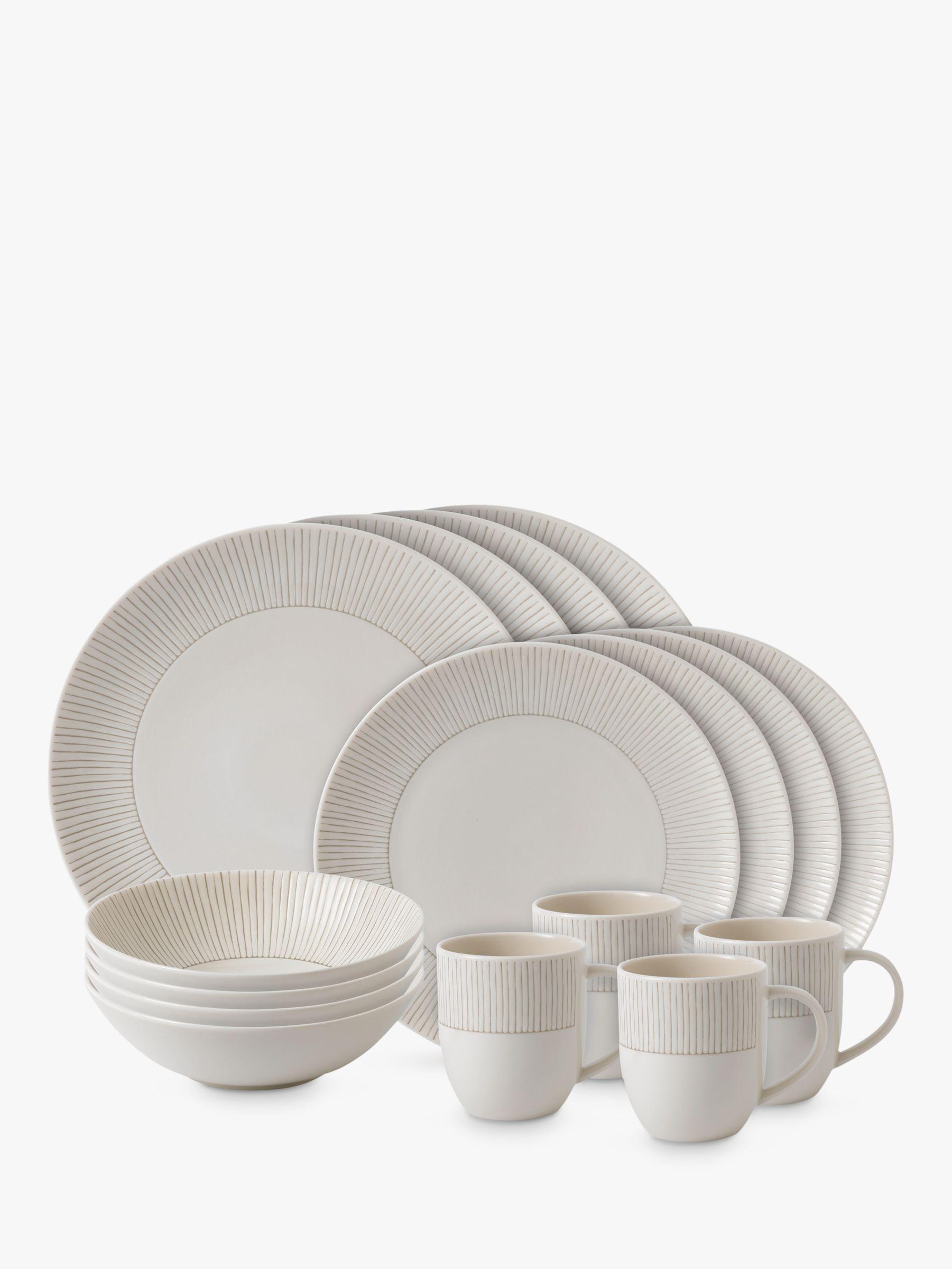 Royal Doulton ED Ellen DeGeneres for Royal Doulton Taupe Stripe Porcelain Set, 16 Piece