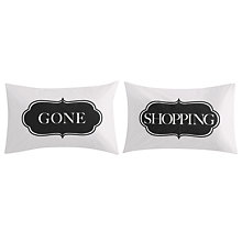 Buy John Lewis Gone Shopping Print Cotton Novelty Pillowcase, Pair Online at johnlewis.com