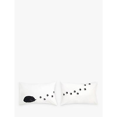 John Lewis & Partners Cat Scene Print Cotton Novelty Pillowcase, Pair