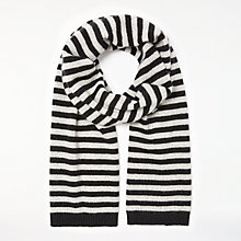 Buy John Lewis Striped Cashmere Scarf, Black/Grey Online at johnlewis.com