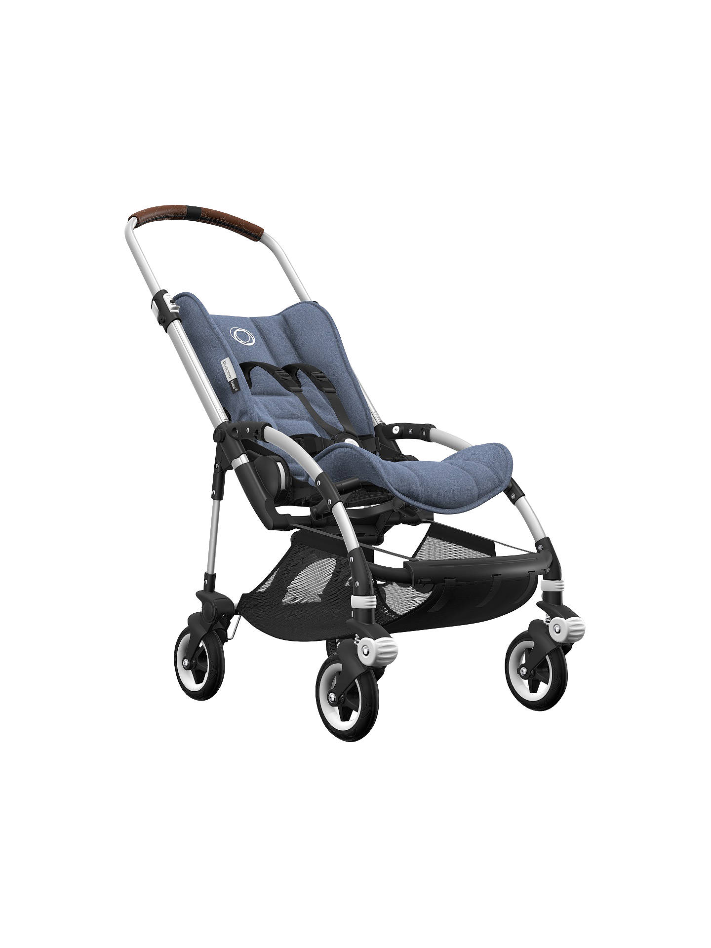 BuyBugaboo Bee5 Complete Pushchair, Aluminium with Cognac Handles and Blue Melange Fabric Online at johnlewis.com