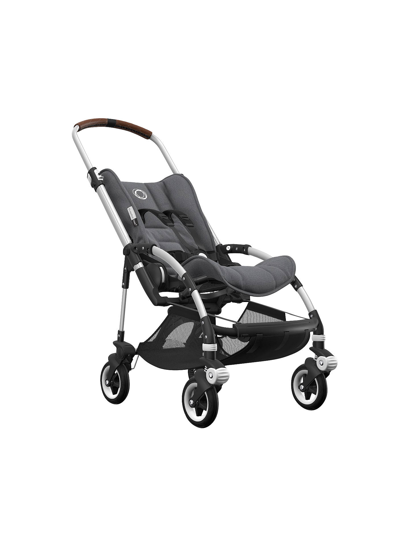 BuyBugaboo Bee5 Complete Pushchair, Aluminium Base with Cognac Handles and Grey Melange Fabric Online at johnlewis.com