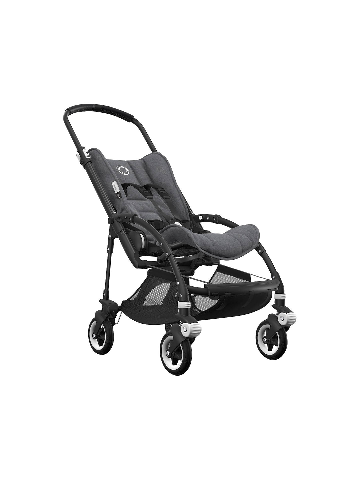 BuyBugaboo Bee5 Complete Pushchair, Black with Black Handles and Grey Melange Fabric Online at johnlewis.com