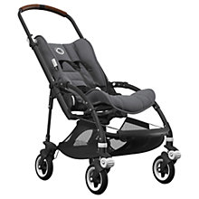 Buy Bugaboo Bee5 Complete Pushchair, Black with Cognac Handles and Grey Melange Fabric Online at johnlewis.com