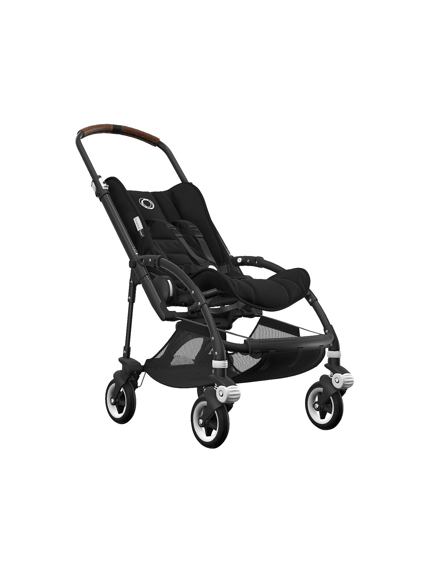 BuyBugaboo Bee5 Complete Pushchair, Black Base with Cognac Handles and Black Fabric Online at johnlewis.com