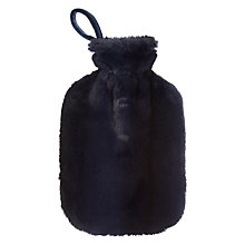 Buy John Lewis Premium Faux Fur Hot Water Bottle and Cover, Navy Stripe Online at johnlewis.com