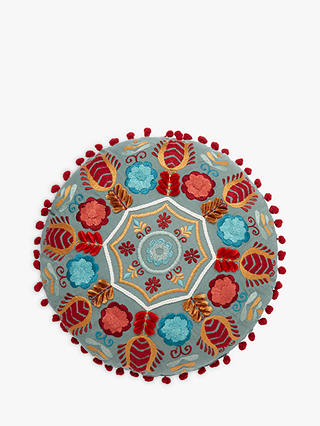 Buy John Lewis & Partners Folklore Round Embroidered Cushion, Multi Online at johnlewis.com