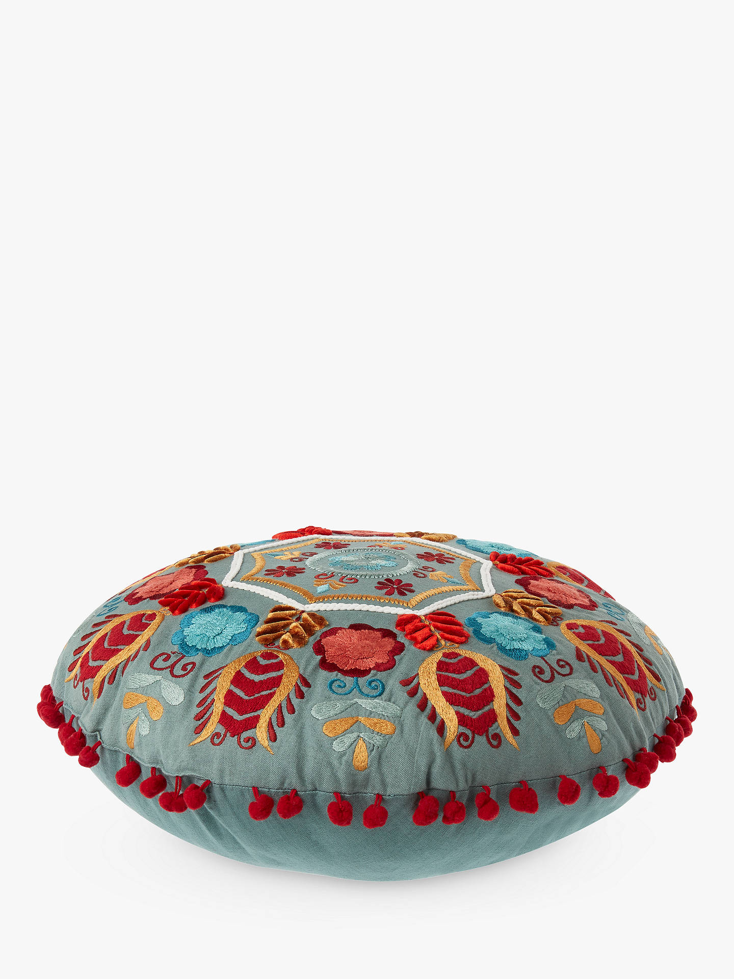 BuyJohn Lewis & Partners Folklore Round Embroidered Cushion, Multi Online at johnlewis.com
