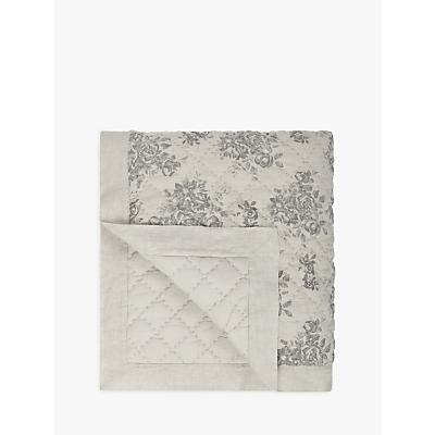 John Lewis Rose Floral Quilted Linen Bedspread