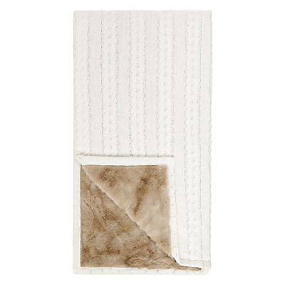 John Lewis Cable Knit & Faux Fur Throw