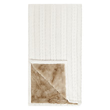 Buy John Lewis Cable Knit & Faux Fur Throw Online at johnlewis.com