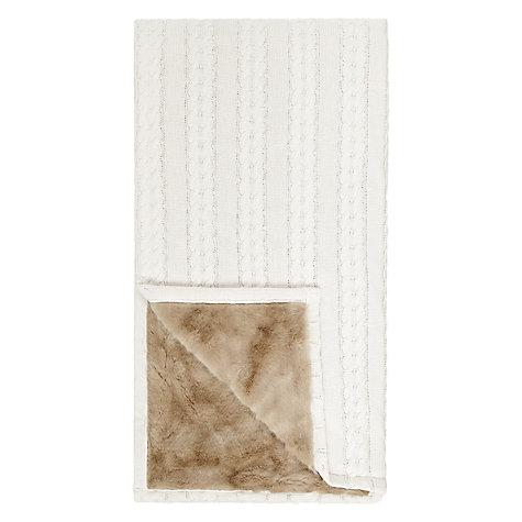 buy john lewis cable knit faux fur throw john lewis. Black Bedroom Furniture Sets. Home Design Ideas