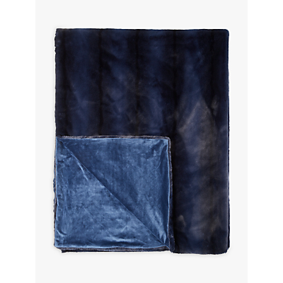 John Lewis Premium Faux Fur Throw, Navy
