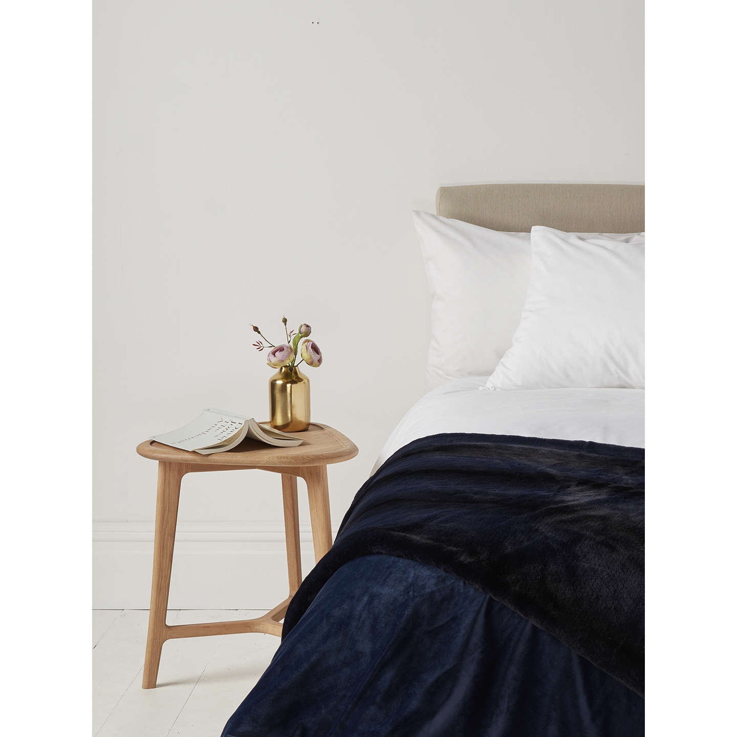BuyJohn Lewis Premium Faux Fur Throw, Navy Online at johnlewis.com