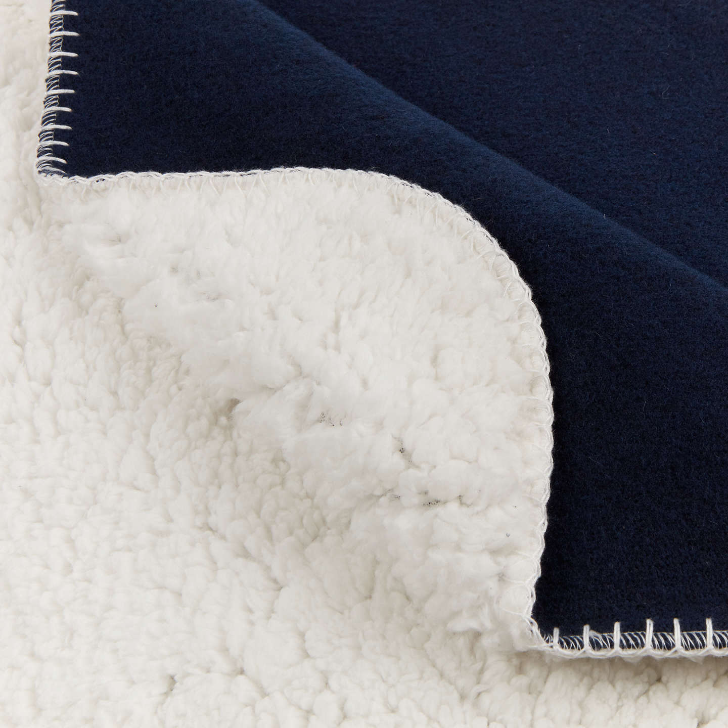 BuyHouse by John Lewis Sherpa Throw, Navy Online at johnlewis.com
