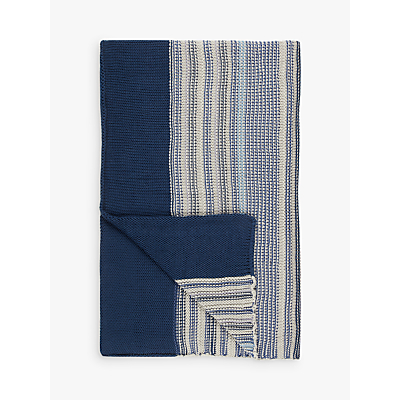 John Lewis Rye Stripe Knitted Throw, Blue