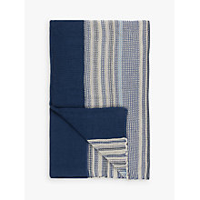 Buy John Lewis Rye Stripe Knitted Throw, Blue Online at johnlewis.com