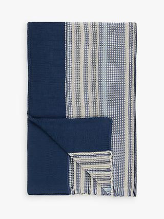 John Lewis & Partners Rye Stripe Knitted Throw, Blue