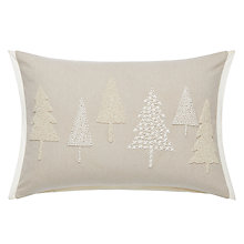 Buy John Lewis Christmas Tree Embroidered and Beaded Cushion, Natural Online at johnlewis.com